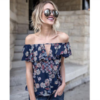 2017 New Styles Of Explosion Europe And America Fashion Sexy V Collar Word Shoulder Printed Chiffon