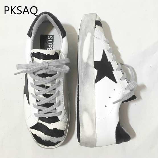 Autumn Winter Girls Zebra Sneakers Lace-Up Informal Footwear Flat-Bottomed Vogue Do Outdated Soiled Footwear Girls 5-Star Footwear