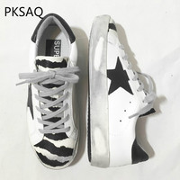 Autumn Winter Women Zebra Sneakers Lace up Casual Shoes Flat bottomed Fashion Do Old Dirty Shoes Ladies Five star Shoes
