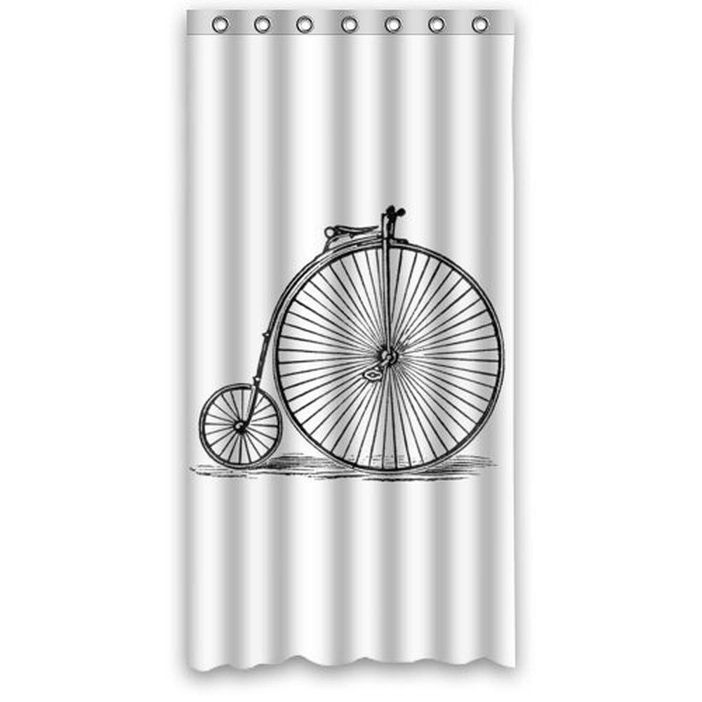36w*72h inch Vintage Bicycle Art Bike Bathing Waterproof Bath Fabric Shower Curtain