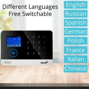 Image 3 - Freies verschiffen. neueste Wireless Home Sicherheit WIFI GSM SIM karte EN RU ES PL DE Schaltbare Alarm system APP RFID Fernbedienung