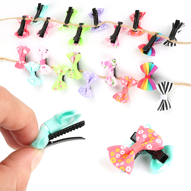 10Pcs/lot Hot Candy Color Bow Hairpin  Solid/ Dot/ Flower Print Ribbon BB Hair Clips for Baby Girls Kids Hair Accessories