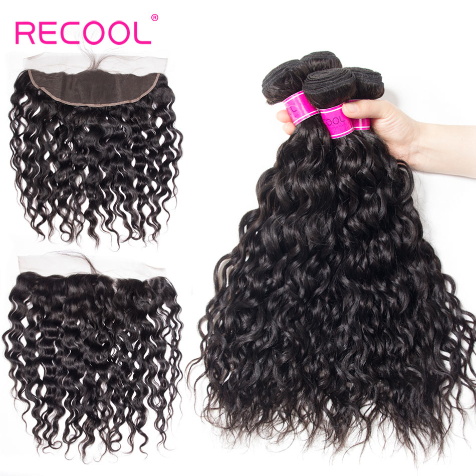 Recool Water Wave Indian Human Hair 4 Bundles With Closure Natural Color Remy Hair Lace Frontal
