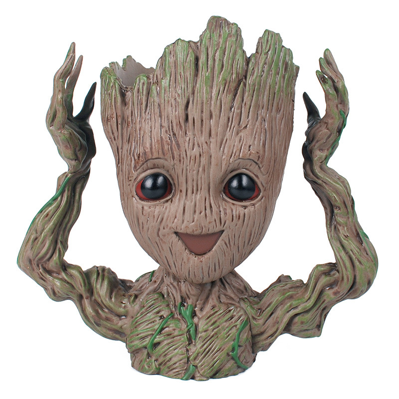 2018 Baby Flowerpot Guardians Of The Galaxy Toy PVC Groot Hero Creative Hands Up Action Figures Crafts Figurine Free Shipping