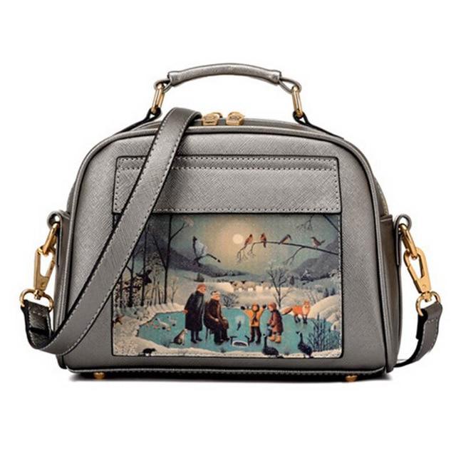 2017 Fashion PU Leather Handbag Oil Picture Pattern Medium Shoulder Bag  Women Messenger Bag Female Tote Women Bag WB279