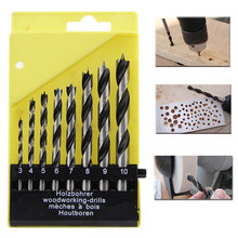 цена на Hot Sale Three-Pointed Design 8pc Pro Round Shank Wood Work Drill Bit Hole Saw Cutter Tool Set Kit For Wood Working