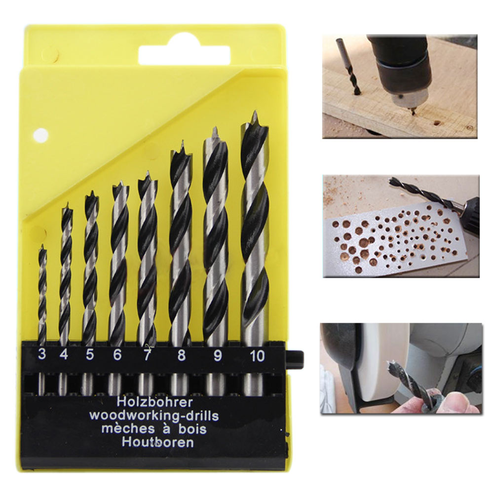 Hot Sale Three-Pointed Design 8pc Pro Round Shank Wood Work Drill Bit Hole Saw Cutter Tool Set Kit For Wood Working Twist Drill