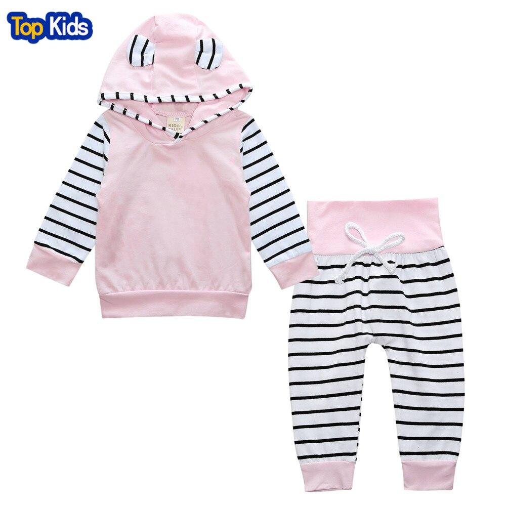 Newborn Baby Girls Clothes Hoodie Tops T-shirt+Cotton Pants 2pcs suit newborn baby boys girls clothing sets BCS265