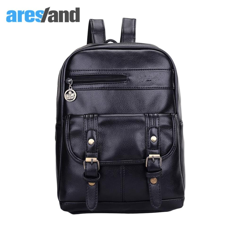 Aresland Stylish PU Leather Backpack for Women Men Teenage s Cool Shoulder Bag Travel Bag Large