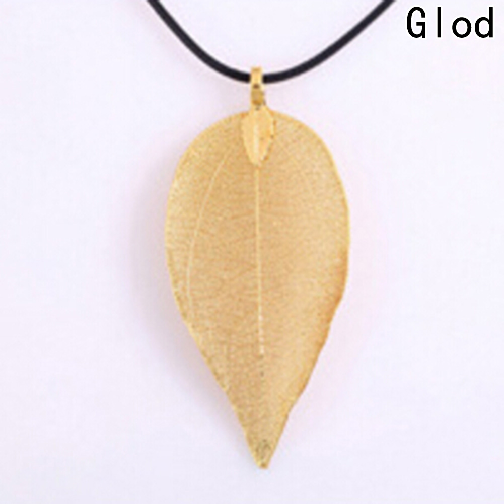Necklace for Women Fashion Plant Sweather Chain New Arrival Unique Plated Golden True Leaves Lone Natural Leaf Pendant