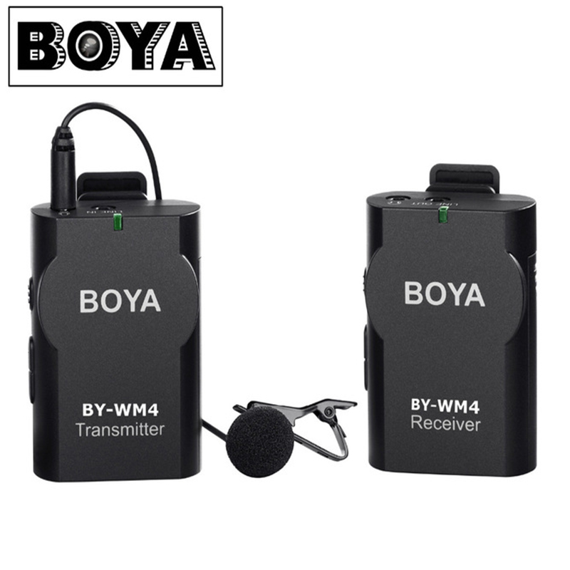 BOYA BY-WM4 Wireless Lavalier Microphone system for IOS Smartphone Tablet DSLR Camera Camcorder Audio Recorder PC Audio/Video  boya by wm5 lavalier clip on mic audio studio recorder wireless microphone microfone for canon sony gopro dslr camera camcorder