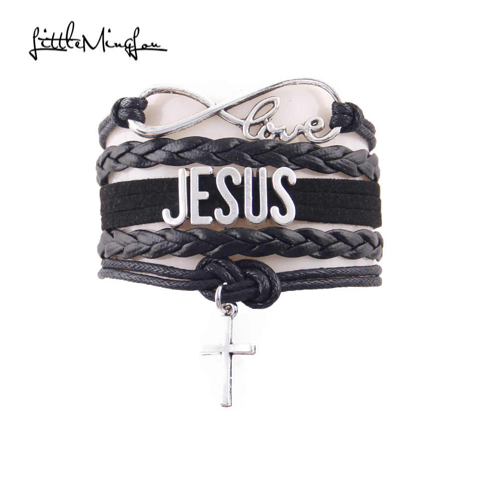 Pequeno minglou infinito amor jesus pulseira cruz charme religioso fé couro envoltório masculino pulseiras & pulseiras para mulher jóias