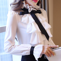 Women Ruffle Collar Blouse Flare Sleeve OL Tops Shirt Bow Slim Fit Chiffon White S 2XL Shirts