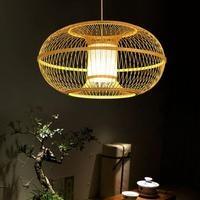 Художественная лампа бамбуковая Подвесная лампа деревянная подвеска «фонарь» лампы chinees Ресторан богатые Декор современный отель балкон с