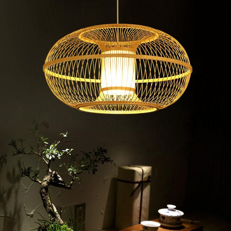 Art Lamp Bamboo Pendant Light Wooden Lantern Pendant Lamps Chinees Restaurant Inrichting Decor Modern Hotel Balcony Garden AL004