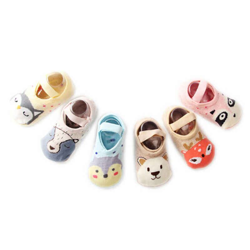 Meias para meninos e meninas de algodão, meias de desenho animado antiderrapantes e antiderrapantes, tipo sapato, 2019 meias 1-3 anos macias