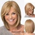 Жаропрочных синтетические парики для женщин мода у части гладкие прямые длинные бобо бледно-блондинка волосы парик с челкой горячая распродажа