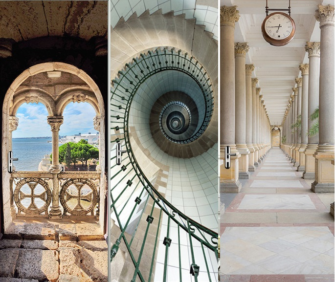 Continental Classic Building Corridor Balcony Staircase Wall Stickers Company Decorations Window Door Stickers Drop Shipping-in Wall Stickers from Home & Garden