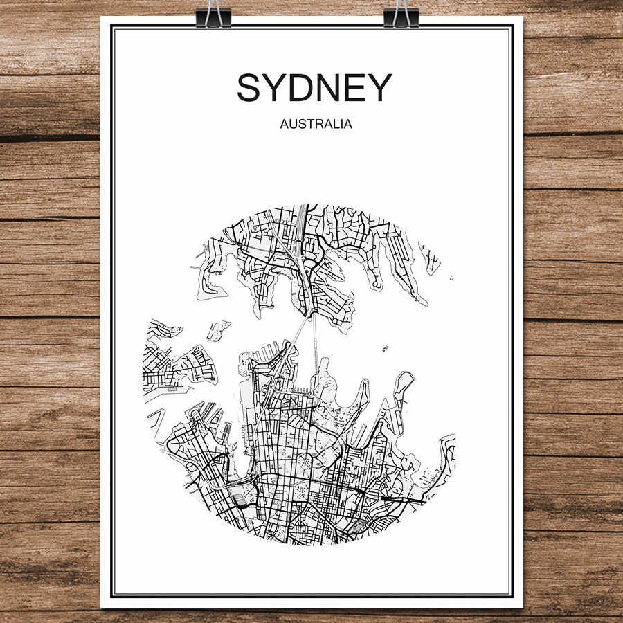 Sydney Australia World Map.Black White World City Map Of Sydney Australia Print Poster Coated Paper For Cafe Living Room Home Decoration Wall Art Sticker