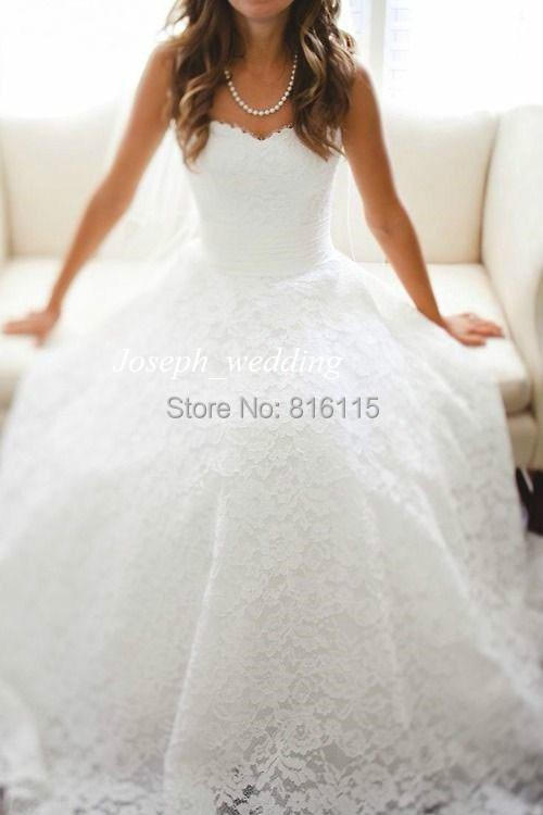 S Free Shipping New Arrival High Quality Custom Made Court Train Sweetheart Neckline Fully Lace Simply Women Wedding Dress Bridal Gowns.jpg