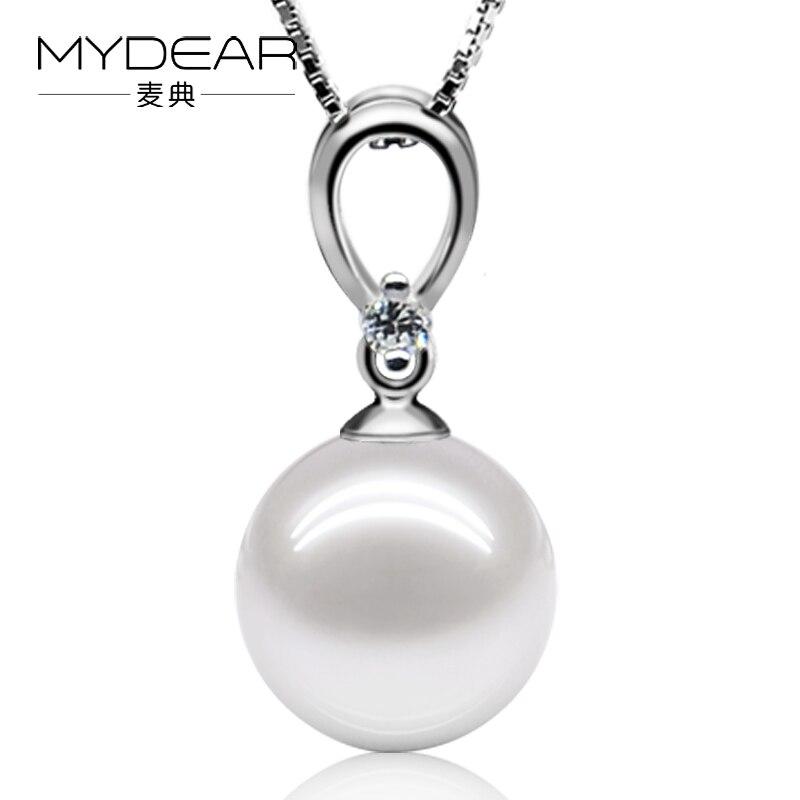 ᓂMydear fina perla joyas 100% real 9-9.5mm redondo blanco perlas ...