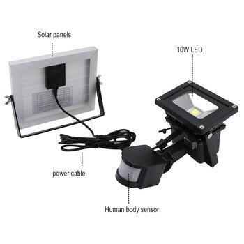 BORUiT 10 W LED Del Sensore Di Movimento Solare Lampada Impermeabile Luce Di Inondazione Esterna Del Giardino Di Pathway Illuminazione Pannello Solare Di Via Del LED Luce