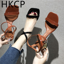 HKCP Mid-heeled sandals summer thick with black word belt sexy womens shoes 2019 new buckle shiny leather C341