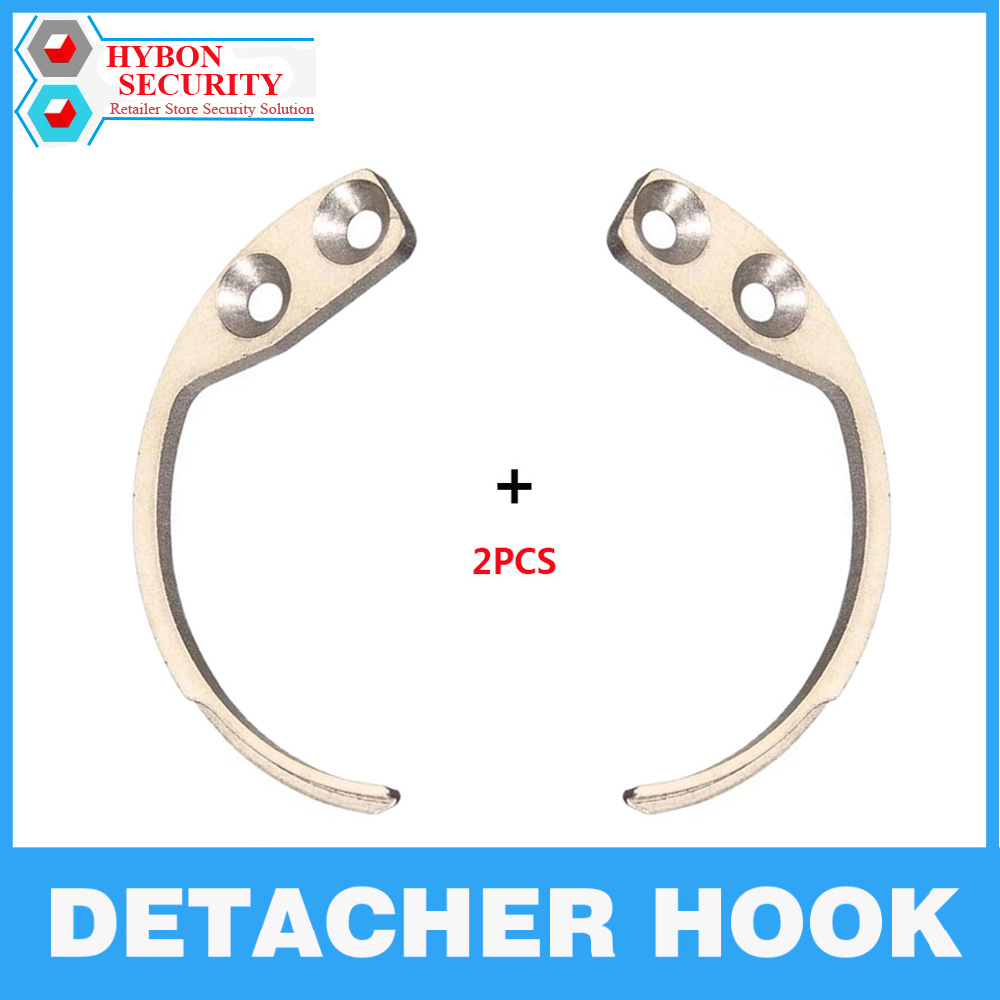 HYBON 2Pcs/Lot Detacher Hook Handheld Security Tag Detacher Hook Key Detacher EAS Anti-Theft Security Hook Remover Detacher hybon golf detacher 15000gs universal magnet tag remover eas security detacher removedor de alarmas clothing detachers