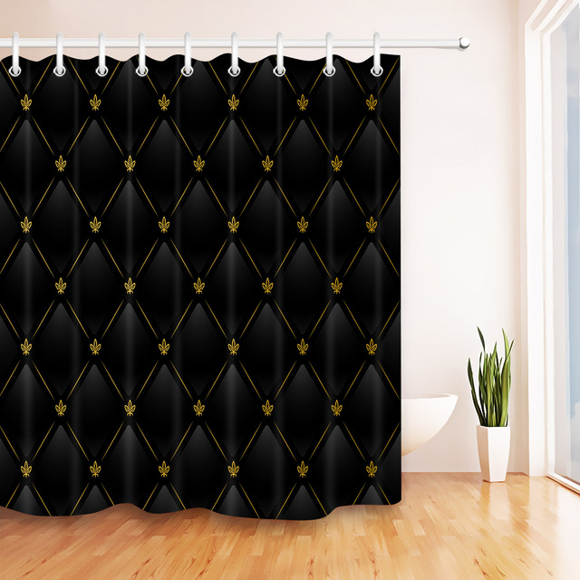 72 Black Leather Background With Gold Pattern Bathroom Waterproof Fabric Shower Curtain Polyester 12 Hooks Bath Accessory Sets