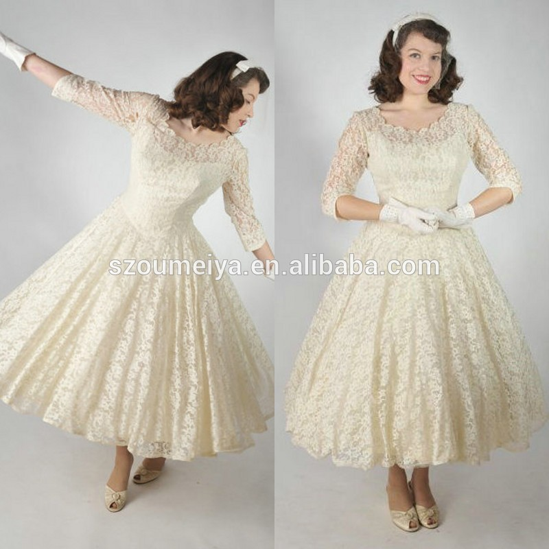 Onw786 scoop three quarter sleeve tea length cream color for Cream colored lace wedding dresses