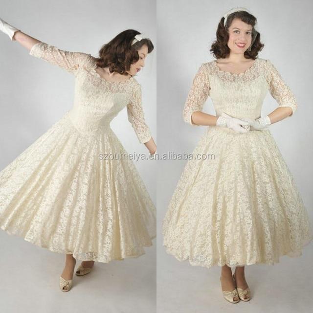 Cream Tea Length Dress