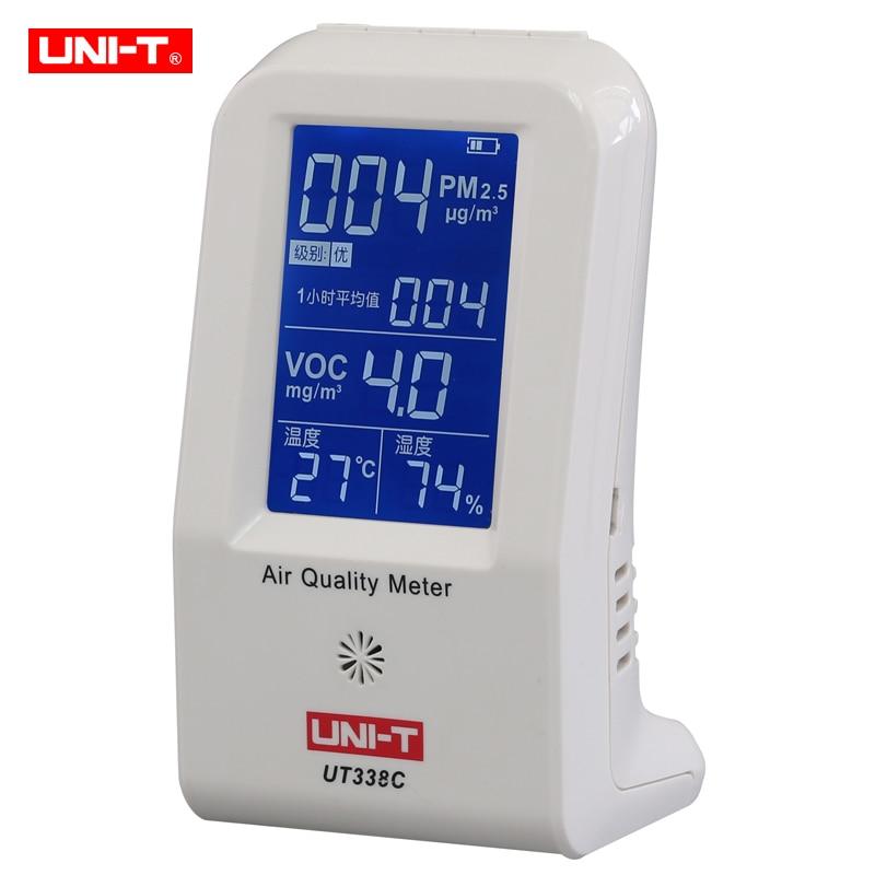 все цены на Air Quality Meter Uni-t UT338C VOC formaldehyde detector PM2.5 monitoring tester dust haze Temperature Humidity Moisture Meter онлайн