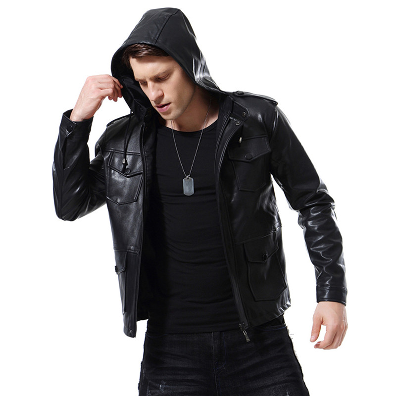 2018 Autumn new High Quality Men's Motorcycle Hooded jacket Men's Leather jacket Leather European and American jacket Size 5XL
