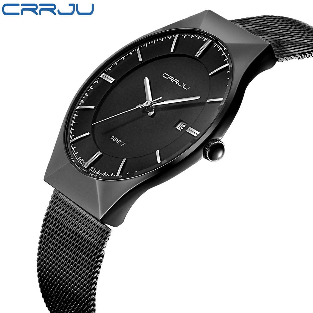 Top Luxury Watch CRRJU Men Brand Men's Watches Ultra Thin Stainless Steel Mesh Band Quartz Wristwatch Fashion casual watches badace new top luxury watch men gold men s watches ultra thin stainless steel mesh band quartz wristwatch business casual watch