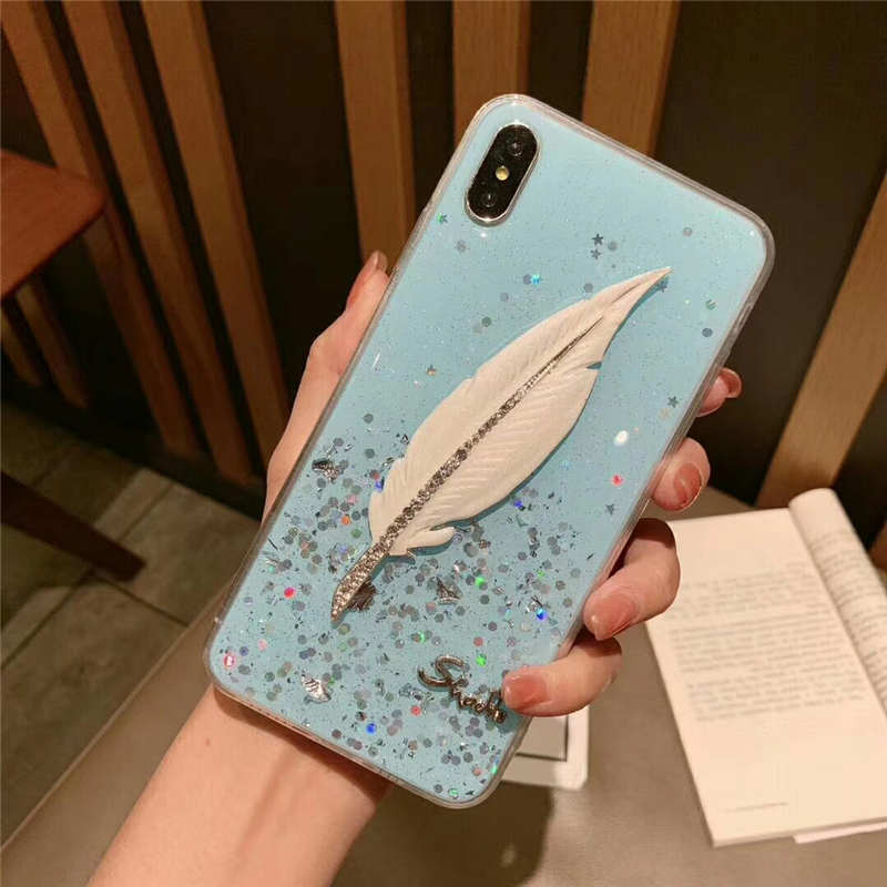 Fashion Glitter Silicone Feather Case For iPhone 7 8 Plus XS Max X s Phone Cases For iPhone X 8 7 6 6S Plus Soft TPU Back Cover in Fitted Cases from Cellphones Telecommunications