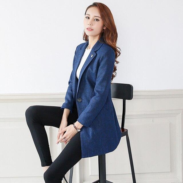 270df17b23 Paletó feminino 2018 novo terno moda longa seção de primavera e outono de manga  longa de