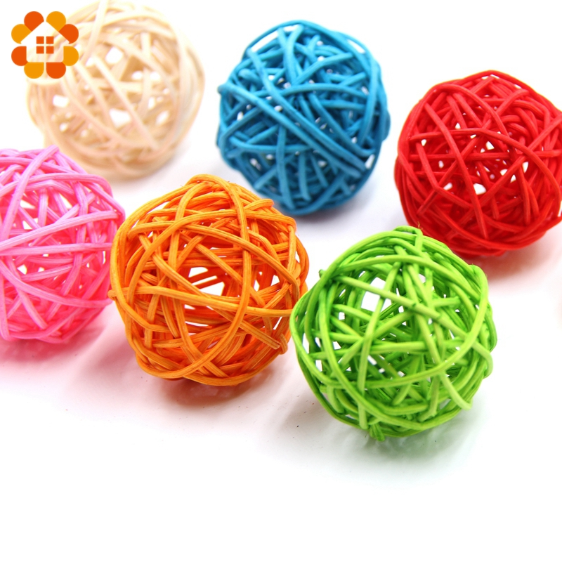 10PCS 5CM Round Shape Mutil Colors Rattan Ball Sepak Takraw For Christmas Birthday Party & Home Wedding Party Decoration