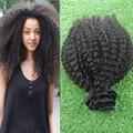 2016 Top Quality Mongolian Afro Kinky Curly Virgem Do Cabelo 9 pcs Grampo Em Extensões Do Cabelo Humano Africano Americano Preto Natural cabelo