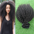 2016 Top Quality Mongolian Afro Kinky Curly Virgin Hair 9pcs African American Clip In Human Hair Extensions Natural Black Hair