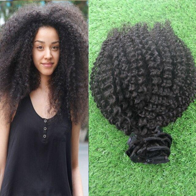2016 de Calidad Superior de Mongolia Afro Rizado Pelo Virginal rizado 9 unids Afroamericano Clip En Extensiones de Cabello Humano Natural Negro pelo