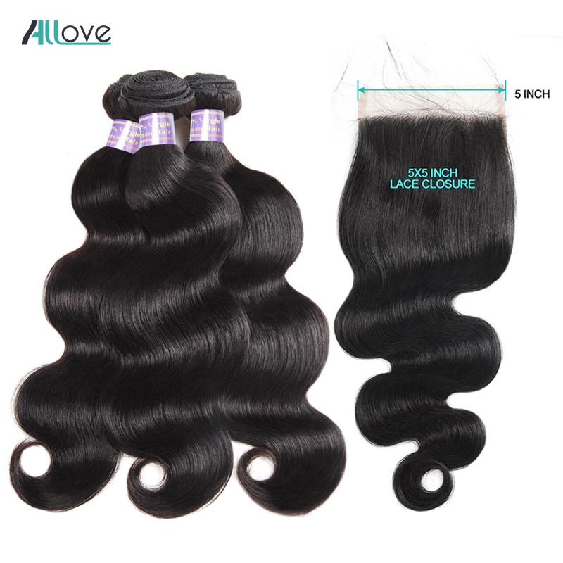 Allove Body Wave Hair With Closure Peruvian Hair Weave Bundles With 5X5 Lace Closure Human Hair