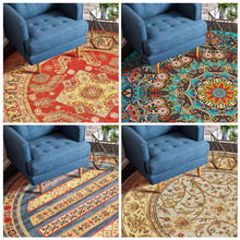 Retro totem woven Round thick carpet Nordic home coffee table blanket Bedroom study chair round computer Printed