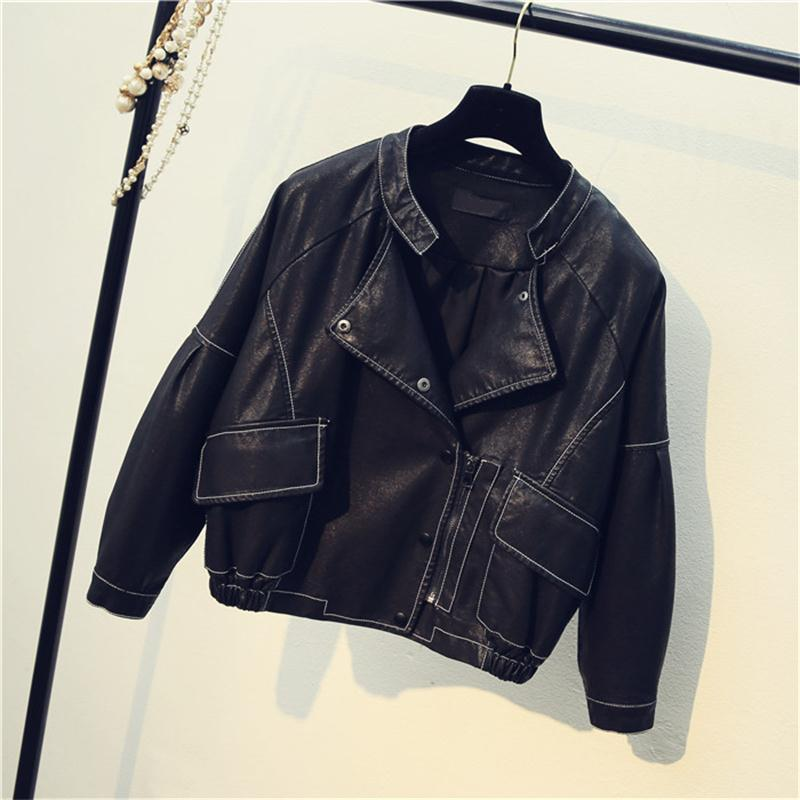 Spring new black loose stand collar wild hit color line locomotive baseball uniform female short paragraph PU   leather   coat tide