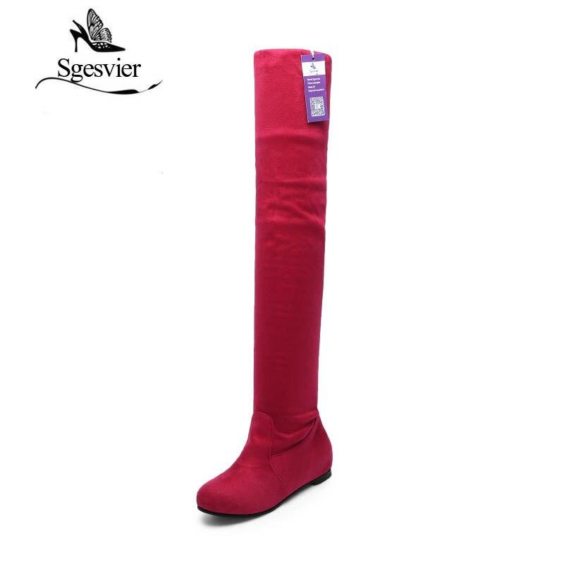 Sgesvier Для женщин Сапоги и ботинки для девочек модные ботинки на плоской подошве на зиму или осень; замшевые высокие сапоги до колена Брендовая Дизайнерская обувь ox017