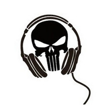 Reflective Ghost Headset Skull Funny Car Styling Whole Body Decal Stickers Car Accessories Black /White