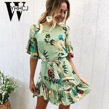 2f09d53df WYHHCJ 2018 nuevo vestido de verano volantes manga corta flores de  impresión sashes mujeres vestido bodycon caliente anomalía o-.