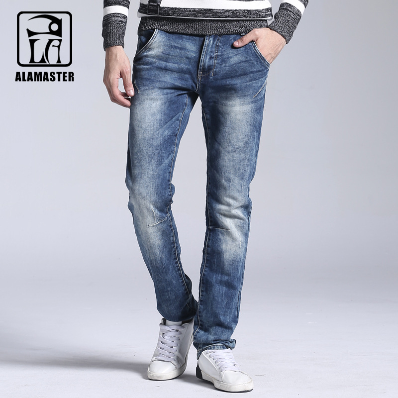 Men s autumn and winter men s elastic jeans male snow washed knitted jeans