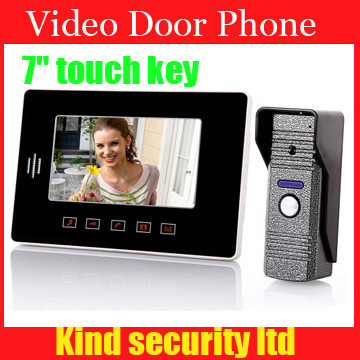 7 TFT LCD Home Security Monitor Door Phone Video Doorbell Intercom System Touch Key with Waterproof Cover Camera (420 TVL) freeship 10 door intercom security system hands free monitor color tft lcd screen intercom system video door phone for villa