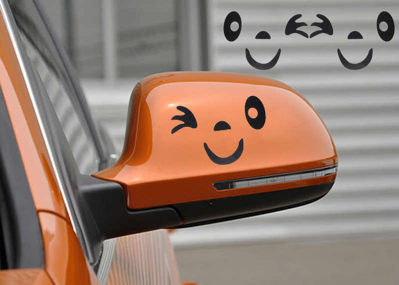 CARPRIE voiture autocollant populaire sourire visage Design 3D décoration autocollant pour voiture côté rétroviseur 18 Sept 7