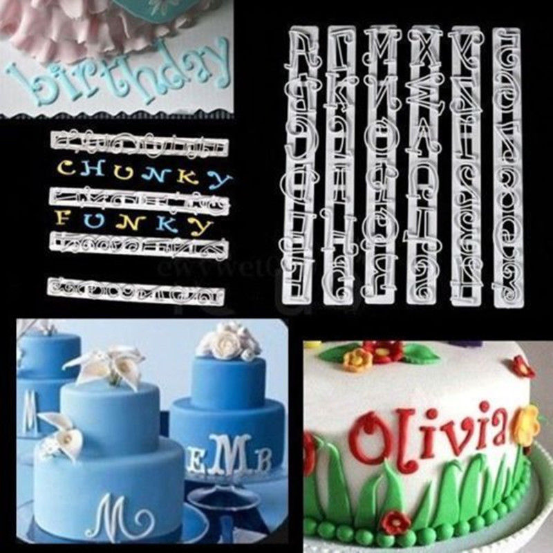 6pc alphabet number letter mold letter fondant icing cutter sugarcraft mould for cake decor random color